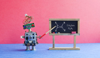 Chemistry lesson college. Robot professor explains molecular formula ethylene. Classroom interior with handwritten formula black chalkboard. Blue pink colorful background